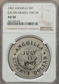 Anguilla, Anguilla: British Dependent Territory Counterstamped Dollar 1967AU58 NGC,...