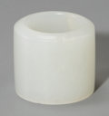 Asian:Chinese, A Chinese Carved Pale Jade Archer's Ring, Qing Dynasty, 19thcentury. 1 inch high x 1 inch diameter (2.5 x 2.5 cm). ...