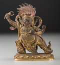 Asian:Chinese, A Sino-Tibetan Gilt Bronze Wrathful Vajrapani Bhutadamara, QingDynasty, 19th century. 4-1/2 inches high (11.4 cm). ...