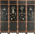 Asian:Chinese, A Chinese Lacquered and Carved Wood Four-Panel Room Screen Insetwith Jade and Hardstone Mounts, Qing Dynasty, 19th century ...