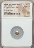 Ancients:Greek, Ancients: IONIA. Uncertain mint. Ca. 650-600 BC. EL 12th stater orhemihekte (1.17 gm). NGC VF 5/5 - 3/5....