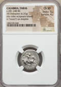 Ancients:Greek, Ancients: CALABRIA. Tarentum. Ca. 272-235 BC. AR stater or didrachm(6.37 gm). NGC Choice XF 5/5 - 4/5. ...