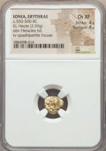 Ancients:Greek, Ancients: IONIA. Erythrae. Ca. 550-500 BC. EL sixth stater or hecte(2.59 gm). NGC Choice XF 4/5 - 4/5....