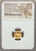 Ancients:Byzantine, Ancients: Heraclius (AD 610-641) and Heraclius Constantine (AD613-641). AV solidus (4.44 gm). NGC MS 3/5 - 5/5....