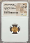 Ancients:Byzantine, Ancients: Theophilus (AD 829-842). AV semissis (1.71 gm). NGC MS5/5 - 4/5....