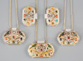 Asian:Chinese, Five Chinese Mughal-Style Semi-Precious Stone and 14K Gold MountedWhite Jade Medallions. 1-3/4 inches wide (4.4 cm) (larges...(Total: 5 Items)