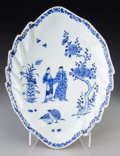 Asian:Chinese, A Chinese Export Blue and White Porcelain Leaf-Form Tray, QingDynasty, 18th century. 15-3/8 inches long (39.1 cm). ...