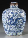Asian:Chinese, A Chinese Blue and White Porcelain Dragon Jar, Ming Dynasty, WanliPeriod, circa 1573-1620. Marks: Six-character Wanli mark ...