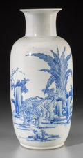 Asian:Chinese, A Rare Chinese Blue and White Porcelain Elephants Vase with PoeticInscription, Qing Dynasty, 17th-18th century. Marks: Four...