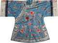 Asian:Chinese, A Chinese Embroidered Blue Silk Brocade Robe. 39-1/2 inches high(flat, middle of collar to lower hem) (100.3 cm). 26-1/4 in...