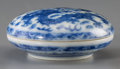 Asian:Chinese, A Chinese Blue and White Porcelain Paste Box with Dragon Motif,Qing Dynasty, Qianlong Period, circa 1735-1796. Marks: Qianl...