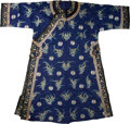 Asian:Chinese, A Chinese Embroidered Dark Purple Silk Formal Robe . 54-1/2 incheshigh (flat, middle of collar to lower hem) (138.4 cm). 28...