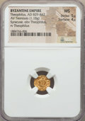 Ancients:Byzantine, Ancients: Theophilus (AD 829-842). AV tremissis (1.18 gm). NGC MS5/5 - 4/5....