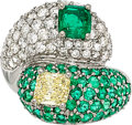 Estate Jewelry:Rings, Colored Diamond, Diamond, Emerald, White Gold Ring. ...
