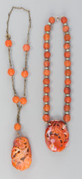 Jewelry:Necklaces, Two Chinese Carved Carnelian Agate Necklaces. 14 inches long (35.6 cm) (overall chain length, longer). ... (Total: 2 Items)