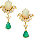 Estate Jewelry:Earrings, Emerald, Opal, Diamond, Gold Earrings. ...