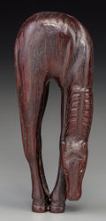 Asian:Japanese, A Tall Japanese Carved Wood Netsuke of a Grazing Horse, Edo Period,19th century. Marks: Rubbed two-character mark. 4-1/4 in...