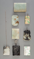 Asian:Chinese, Eight Chinese Carved Jade and Jadeite Pendants and Belt Buckles. 3inches high x 2 inches wide (7.6 x 5.1 cm) (largest, belt...(Total: 8 Items)