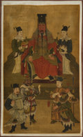 Asian:Other, A Korean Ink and Watercolor on Silk Ancestral Scroll. 36 x 21-1/2inches (91.4 x 54.6 cm) (image). ...