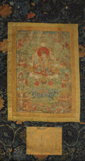 Asian:Other, A Tibetan Thangka, 18th century. 24-1/2 inches high x 17 incheswide (62.2 x 43.2 cm) (sight). 52-1/4 inches high x 29 inche...