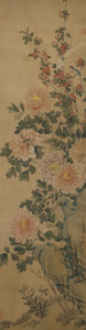 Asian:Chinese, Attributed to Jiang Tingxi (1669-1732). ChrysanthemumBlossoms. Gouache and watercolor on silk. 44-1/4 inches high x13-...