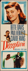 """Movie Posters:Crime, Deception (Warner Brothers, 1946). Insert (14"""" X 36""""). Crime.. ..."""