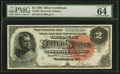 Large Size:Silver Certificates, Fr. 243 $2 1886 Silver Certificate PMG Choice Uncirculated 64 EPQ.. ...