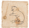 "Books:Original Art, [T. S. Eliot]. Embroidered Cat by a Young T.S. Eliot. [St. Louis:1894]. Original embroidery on linen. ""Tom"" written in penc..."