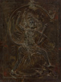 Asian:Other, A Pressed Metal Relief Depicting the Hindu God Hanuman. 39-1/4 x29-3/8 inches (99.7 x 74.6 cm). ...