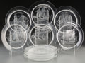 Art Glass:Lalique, Ten Lalique Clear and Frosted Glass Nautical Luncheon Plates.Marks: Lalique, France. 8-1/2 inches diameter (21.6 cm). ...(Total: 10 Items)
