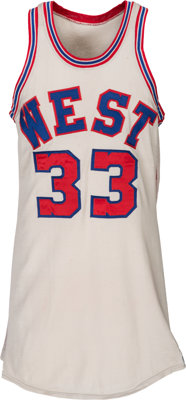 1971 Lew Alcindor Game Worn NBA Western Conference All-Star Jersey, MEARS A10