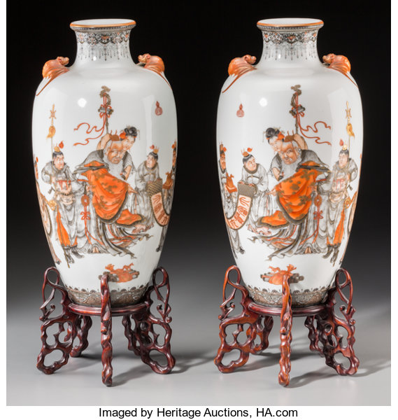 A Fine Pair Of Chinese Enameled Porcelain Vases On Rosewood Lot
