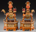 Asian:Chinese, A Pair of Chinese Gilded and Lacquered Metal Figural OrnamentalStands, Republic Period, circa 1912-1949. 10-3/4 inches high...(Total: 2 Items)
