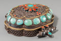 Asian:Chinese, A Large Tibetan Turquoise and Hardstone-Inset Silver Prayer Box,19th century. 2-1/4 h x 5-1/2 w x 6-1/8 d inches (5.7 x 14....