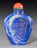 Asian:Chinese, A Good Chinese Carved Lapis Lazuli Snuff Bottle Depicting Chang'e,late Qing Dynasty, 19th-20th century. 2-7/8 inches high (...