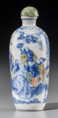 Asian:Chinese, A Chinese Doucai Porcelain Snuff Bottle, Qing Dynasty, 18th-19thcentury. 4 inches high (10.2 cm). ...