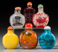 Asian:Chinese, A Group of Six Chinese Glass Snuff Bottles. 2-7/8 inches high (7.3cm) (largest). ... (Total: 6 Items)