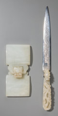 Asian:Chinese, A Chinese Carved White Jade Two-Part Buckle and Jade Buckle MountedLetter Opener, Qing Dynasty. 4-1/4 inches long (10.8 cm)... (Total:2 Items)