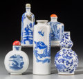 Asian:Chinese, Five Chinese Blue and White Porcelain Snuff Bottles, late QingDynasty-Republic Period. 4-3/8 inches high (11.1 cm) (tallest...(Total: 5 Items)