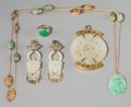 Asian:Chinese, A Five-Piece Chinese Jade and Jadeite Jewelry Group, late QingDynasty-early Republic Period. 33 inches long (83.8 cm) (neck...(Total: 5 Items)