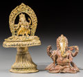 Asian:Other, A Bronze Figure of Ganesha with Traditional Butter Lamp. 3 incheshigh (7.6 cm) (figure). 5-1/2 inches high (13.9 cm) (lamp)...