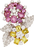 Estate Jewelry:Brooches - Pins, Sapphire, Diamond, Platinum, Gold Brooch, Ruser. ...