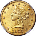 Liberty Eagles, 1853-O $10 AU58 NGC. Variety 1....