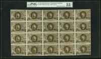 Fr. 1234 5¢ Second Issue Uncut Sheet of Twenty PMG About Uncirculated 53 Net