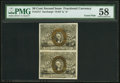 Fractional Currency:Second Issue, Fr. 1317 50¢ Second Issue Vertical Pair PMG Choice About Unc 58.. ...