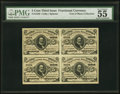 Fractional Currency:Third Issue, Fr. 1236 Milton 3R5.1 5¢ Third Issue Block of Four PMG About Uncirculated 55 EPQ.. ...