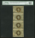Fractional Currency:Second Issue, Fr. 1245 10c Second Issue Vertical Strip of Four PMG Uncirculated 62.. ...
