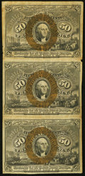 Fractional Currency:Second Issue, Fr. 1316 50¢ Second Issue Vertical Strip of Three Fine.. ...