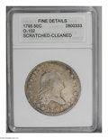 Early Half Dollars: , 1795 50C 2 Leaves--Scratched, Cleaned--ANACS. Fine Details. O-102,R.5. This hairlined example has an obverse rim ding at 8...