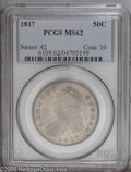Bust Half Dollars: , 1817 50C MS62 PCGS. O-107, R.3. A lilac-gray Bust Half with satinluster and clean surfaces for the assigned grade. The lef...